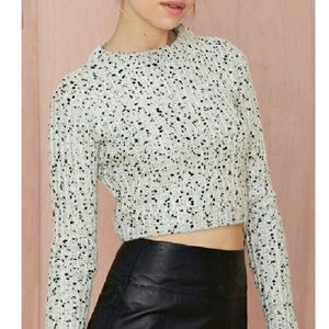 Nasty gal cropped knit gray sweater